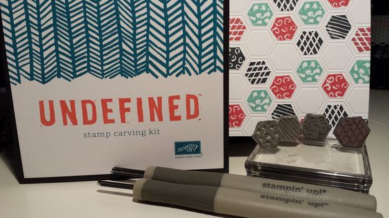 Stampin Up UNDEFINED - Six Sided mini sampler Hexagon Stamps which I carved all by myself. Gloria Kremer