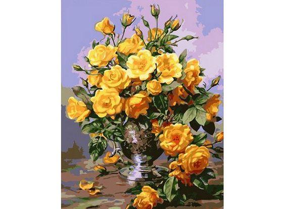 «Розы в серебряной вазе» Альберта Уильямса - Zvetnoe.ru - раскраски по номерам