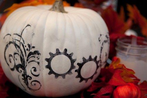 Painted science pumpkin
