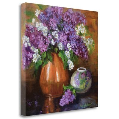 Tangletown Fine Art 'Lilacs and Copper' by Cheri Wollenberg Painting Print on Wrapped Canvas