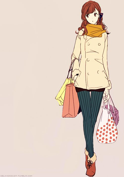Anime Fashion Girl Shopping And Art