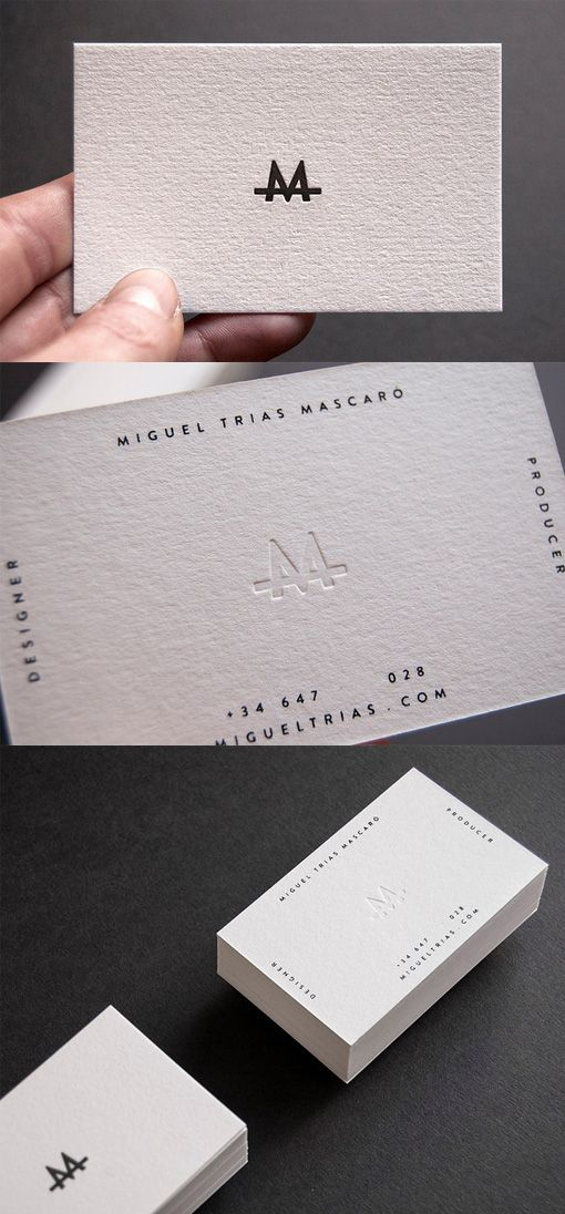 Slick Letterpress White Minimalist Design Business Card For A Designer Business Card Free Design http://www.plasticcardonline.com