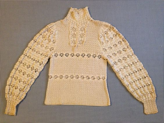 1960s, does the 1860s, in this truly, one of a kind, wearable work of art, fashion, and craftsmanship. 1960s, Victorian style, hand crocheted,