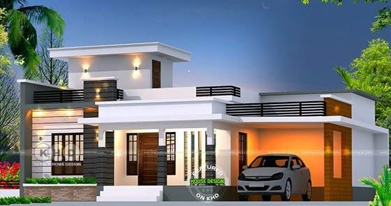 Flat Roof Budget Oriented Home 1361 Sq Ft Kerala House Design Modern Bungalow House Home Building Design