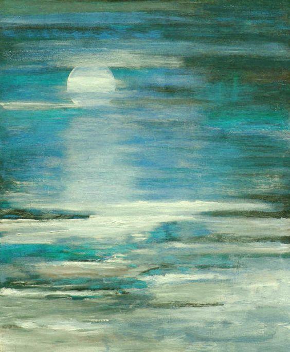 Seascape textured modern ocean blue painting Lauren Marems original art made to order