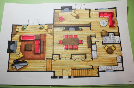 Planos de planta and pisos on pinterest for Representacion arquitectonica en planos