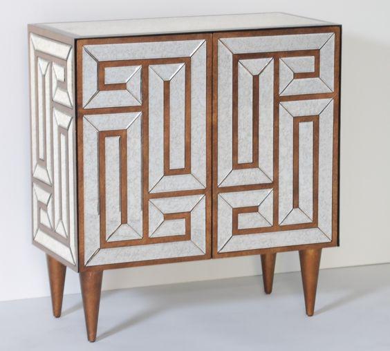 Greek Key Design Mirrored Cabinet