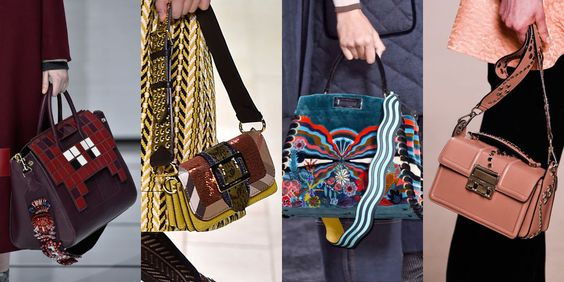 Bags really got the rockstar treatment this season with extra wide embellished straps that make carrying yours just a little easier.  As seen at Anya Hindmarch, Burberry, Fendi, and Lanvin