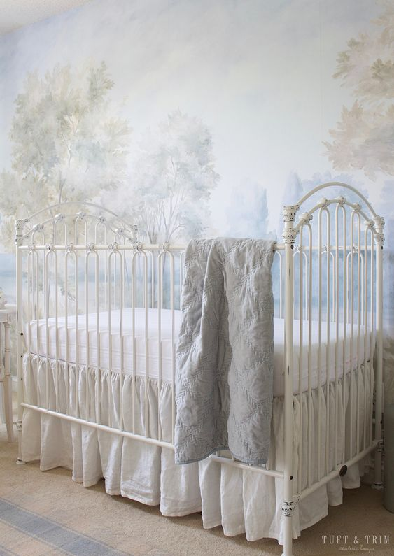Barringtons Cool mural in a nursery designed by Courtney Davey of Tuft & Trim! -Susan Harter Muralpapers. COME ENJOY Peaceful Timeless Trompe-l'oeil Wall Murals to Inspire!