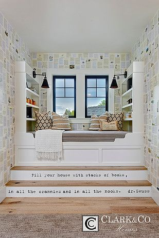 """Clark & Co Homes - 2016 Spring Parade Home """"The Heartland"""". Modern Farmhouse. www.clarkandcohomes.com. Built-in cabinetry; White Dove by Benjamin Moore; Black Magic. Reading nook built-in daybed with book shelves. Dr. Suess quote on stairs. Pella Impervia black fiberglass windows."""