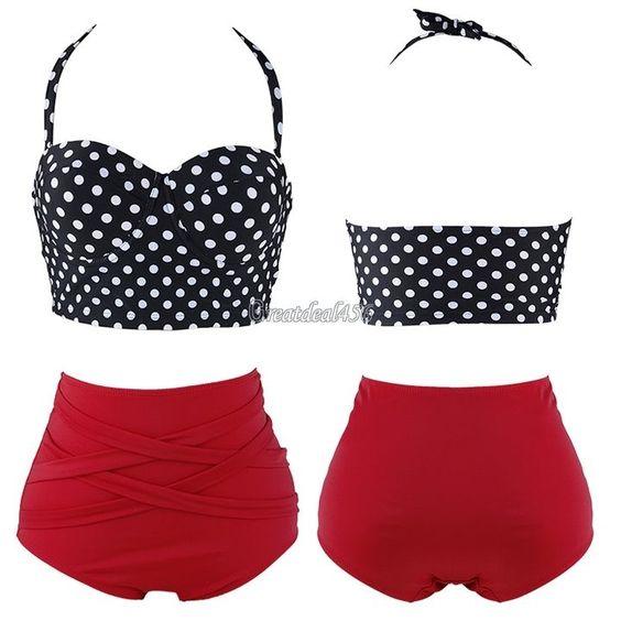 Cutest Women Retro Sexy Swimsuit Polka Dot Swimwear Pin Up High Waist Bikini Set #Unbranded #HighWaistBikini
