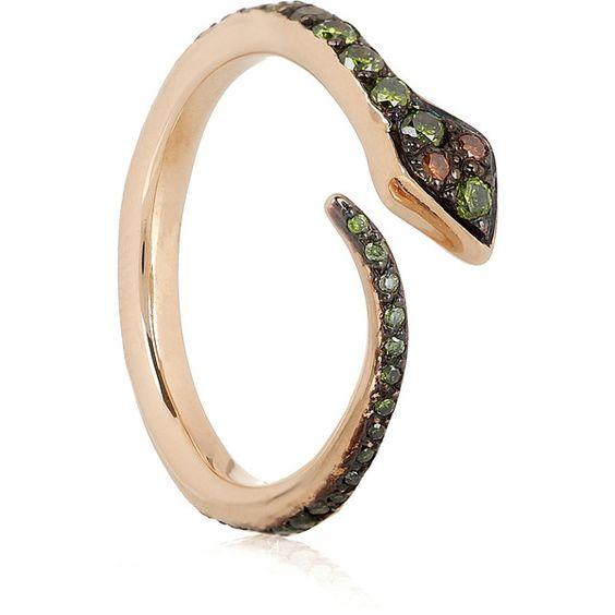 Ileana Makri Big Snake 18-karat rose gold diamond ring ($1,945) ❤ liked on Polyvore