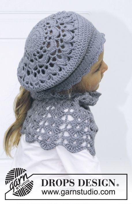 """DROPS Children 24-15 - Gorro e gola DROPS em croché, em """"Karisma"""". Dos 3 aos 12 anos. - Free pattern by DROPS Design"""