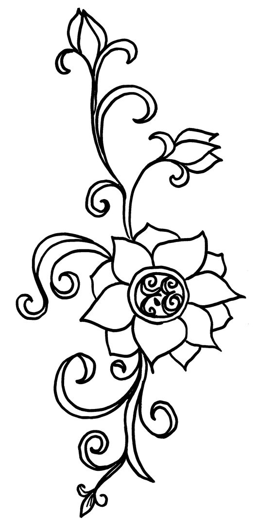 image of lotis flower drawing henna inspired design ideas - Drawing Design Ideas