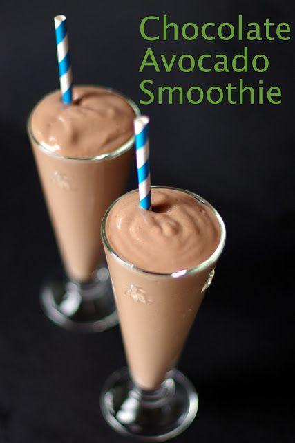 Chocolate Avocado Smoothie- 1 ripe medium avocado; 1 heaping TBS cocao; 1-1/2 C. milk; 1 TBS honey (optional);1 C. strawberries