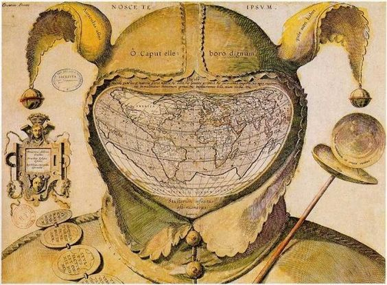 """This image is one of the enigmas of cartographic history. The artist, date and place of publication are all unknown. The geography of the map strongly resembles that of the world maps of Ortelius published in the 1580s, giving a tentative date of c.1590.…    Although Epichtonius Cosmopolites appears to be the author's or artist's name, it translates roughly as """"Everyman,"""" leaving the mapmaker's true identity hidden."""