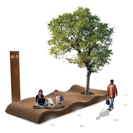 Surf Isle - Groot golvende zitplatform voor de openbare ruimte. - Streetlife