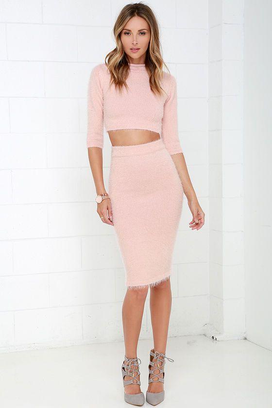 Software Update Fuzzy Blush Pink Two-Piece Sweater Dress  Dress ...