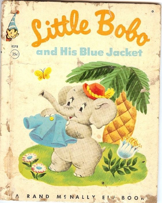 Vintage 1953 Little Bobo and his Blue Jacket, Elephant, A Rand McNally Elf Book by Alf Evers, Illustrations by Tony Brice, Jungle authentic 1950's antique retro collectible unique vintage Americana