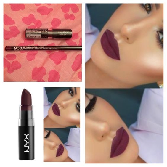 NEW SHADE❤️❤️ NYX MATTE LIPPIE SET NEW SHADE GOAL DIGGER✨SLIM LIP PENCIL PRUNE NEW AND SEALED•COLOR PAY OFF IS AMAZING WITHOUT DRYING YOUR LIPS NEW AND SEALED Nyx Makeup Lipstick