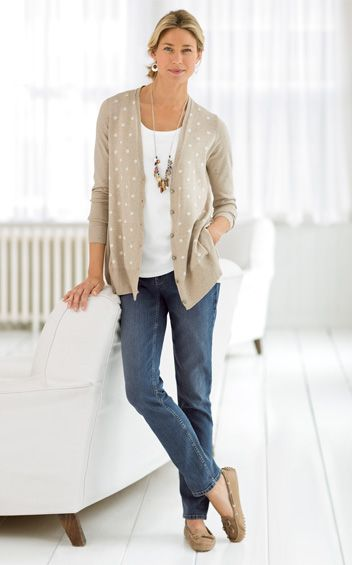 J Jill Buy This Look Classic Style Pinterest Polka Dot Cardigan The White And Classic