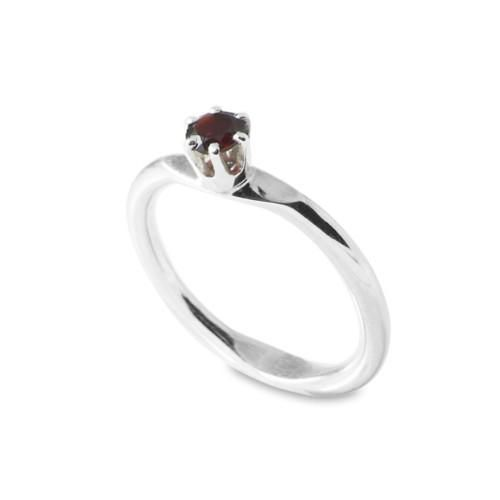 """FREE SHIPPING  Apple ring medium is a hand made sterling silver ring with a 2mm round shank and a 4mm round facetted stone. This one being a Garnet with a lush deep red colour.  Comes in sizes 15 - 18. For other sizes please send an inquiry. Check out the """"size guide"""" for more info.  Please specify your desired size in your message at the checkout."""