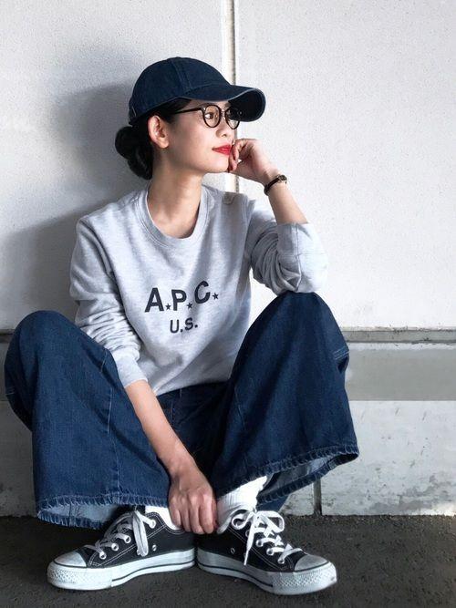 Instagram→yuk_takahashi0706 キャップに眼鏡✌️ メンズライクなアイテ