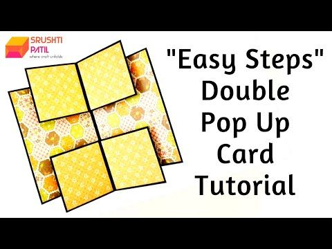 Double Pop Up Card Easy Steps Tutorial By Srushti Patil Youtube In 2021 Mini Album Tutorial Pop Up Cards Tutorial
