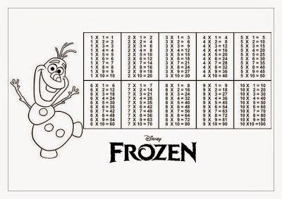 Tabuada para Imprimir - Frozen Olaf
