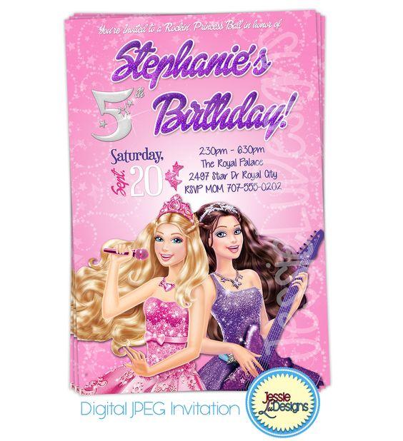 Barbie Princess & The Popstar Custom Digital Invitation by JessieLuDesigns http://etsy.me/1tpHQ9K via @Etsy