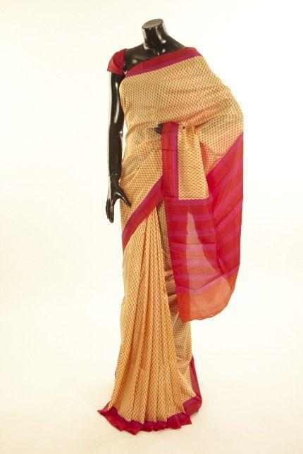 silk light dusty peach saree with blouse