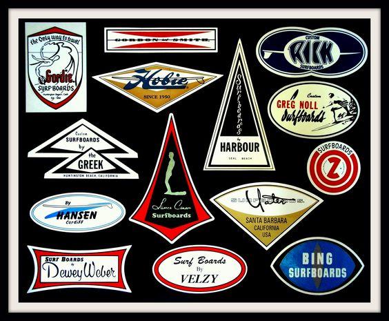 Vintage Surfboard screen printed logos