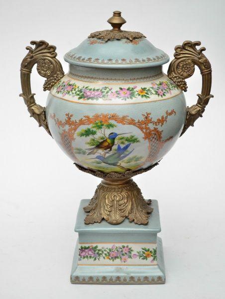 grande nfora em porcelana italiana na cor azul