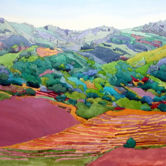 Robin Purcell ca. 2012 Wine Country  watercolor.  Photos - Google+