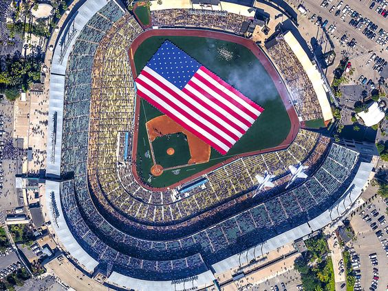 Wild Blue Yonder - A pair of United States Navy F-18 jets fly-over Dodger Stadium as the teams line-up prior to the Los Angeles Dodgers opening day game against the Pittsburgh Pirates in Los Angeles.: Dodgers Baseball, Dodger Stadium, Buildings My Bucket, La Dodgers ️ ️, United States Navy, Los Angeles Dodgers, Jets, Dodgers Opening