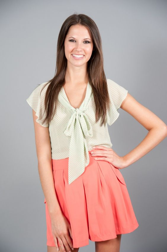 Mint Blouse With Bow 34