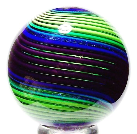 """EDDIE SEESE ART GLASS MARBLES 2"""" INTRICATE STRIPPED DICHROIC MARBLE #EddieSeese #Contemporary"""
