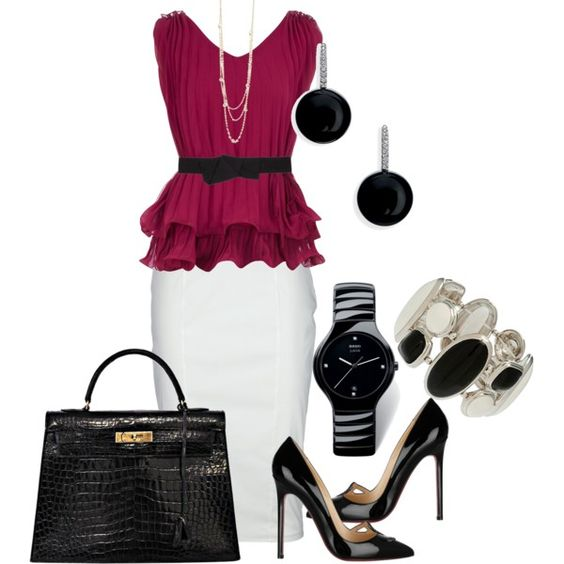 career outfit - cranberry top and white skirt