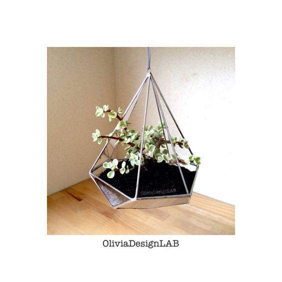 Terrario geométrico colgante  hecho a mano  por OliviaDesignLab