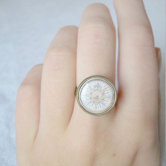 Windrose adjustable ring  geographhical jewelry  by antagonistshop