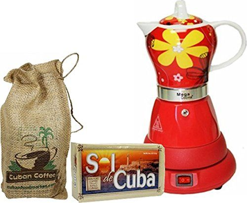 Electric Cordless Espresso Cuban Coffee Maker 4 Cups Color Red Includes Coffee In Beautiful Jute Bag Cuban Coffee Maker Cuban Coffee Coffee Maker