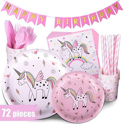 Pink Heart Unicorn Girls Birthday Party Tableware Napkin Plates Cups Party