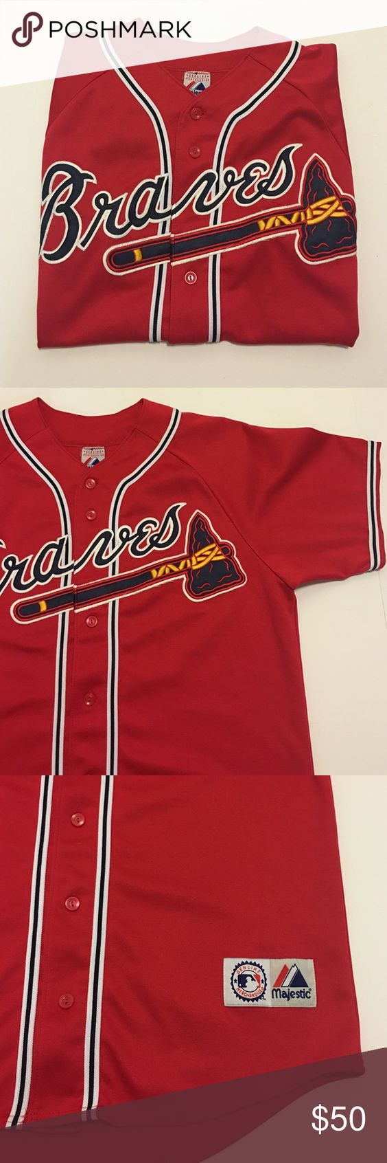 Atlanta Braves MLB Red Majestic Baseball Jersey Atlanta braves MLB baseball majestic jersey in red. Great condition. Size large. Majestic Shirts Casual Button Down Shirts