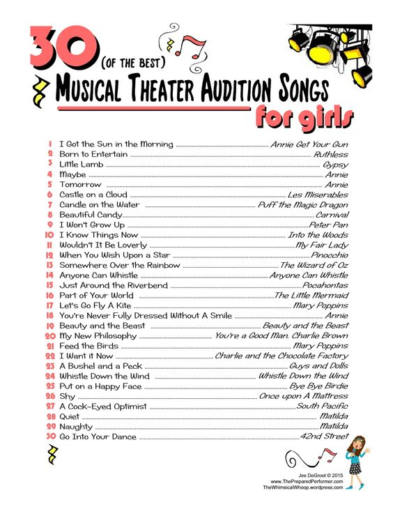 flirty musical theatre songs Need some help picking out soprano musical theatre songs for your next audition or just to sing for fun this list should help expand your repertoire.