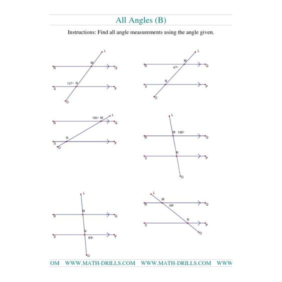 Printables High School Geometry Worksheets worksheets angles and geometry on pinterest worksheet finding angle measurements b
