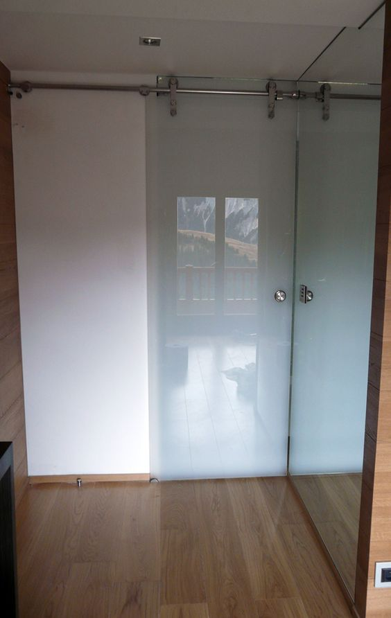 Salles de bain miroiterie des plaines vitrerie - Porte coulissante salle de bains ...