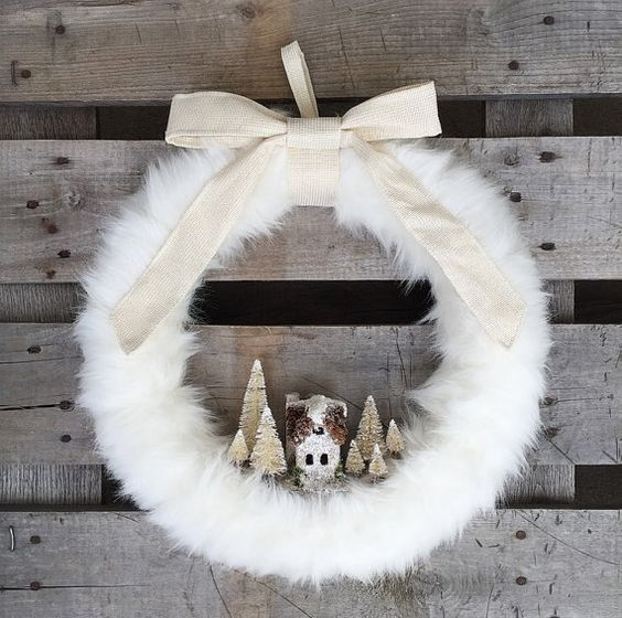 Let It Snow Wreath, Winter Wreath, Holiday Wreath, White Wreath, Rustic Wreath, Christmas Wreath, Fur Wreath, Wreath, Village Wreath: