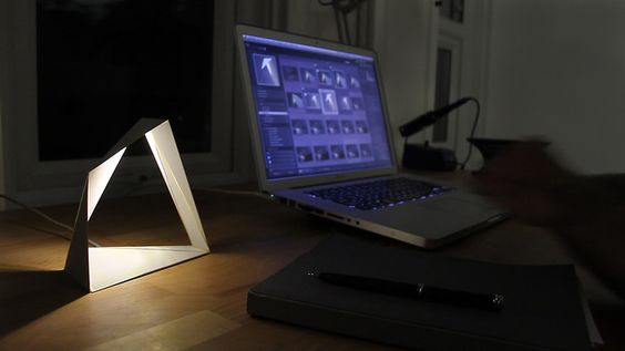 Eliza is an unique LED lamp created from folded brass and powered by a ... -UpVisually.com
