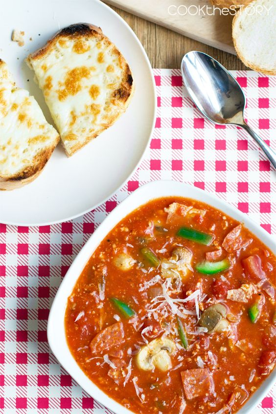 Tastes just like pizza but it's SOUP!  Made in 15 minutes!