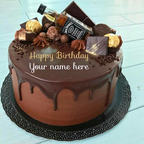 Delicious Chocolate Birthday Cake With Name On It Get Your Name On Chocolate Birthday C Birthday Cake Chocolate Birthday Cake Writing Birthday Cake For Father